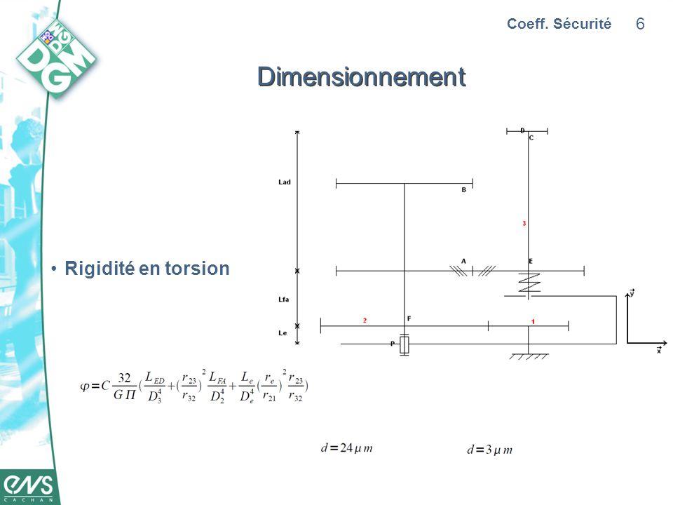 Coeff. Sécurité Dimensionnement Rigidité en torsion