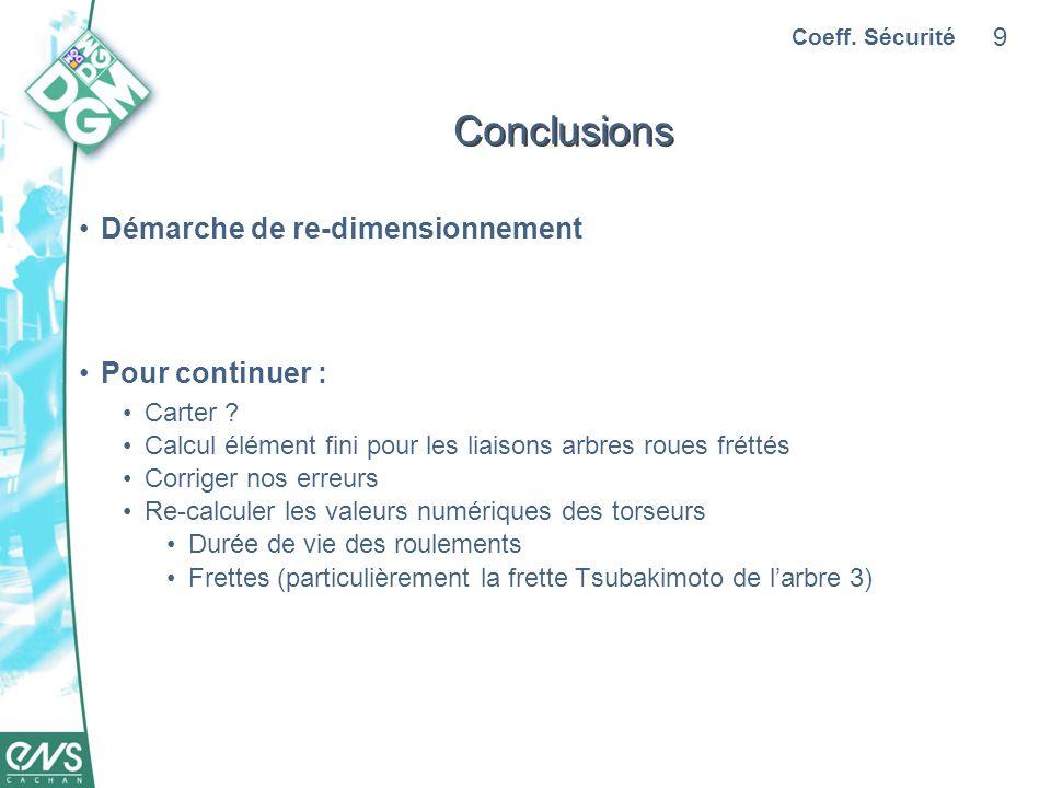 Conclusions Démarche de re-dimensionnement Pour continuer : Carter