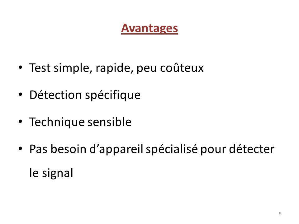 Avantages Test simple, rapide, peu coûteux. Détection spécifique.