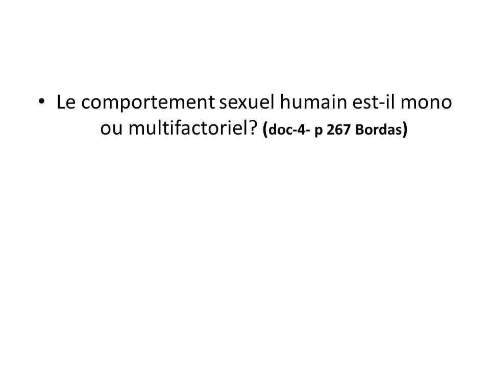 Le comportement sexuel humain est-il mono ou multifactoriel