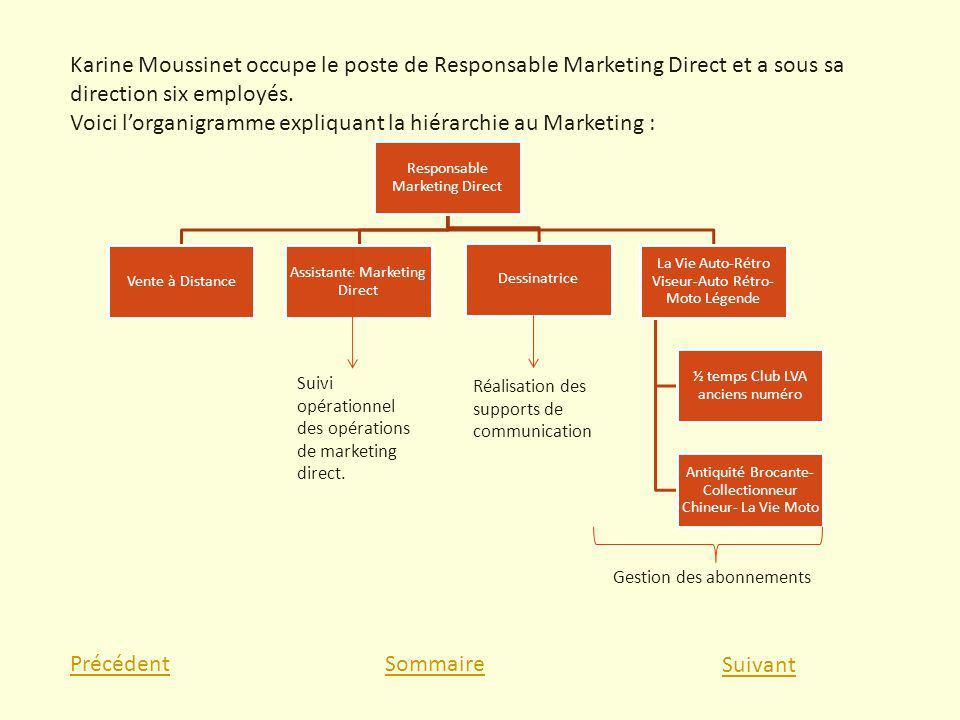 Voici l'organigramme expliquant la hiérarchie au Marketing :