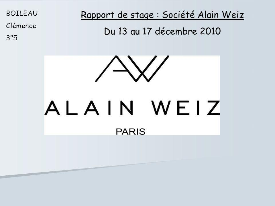 Rapport de stage : Société Alain Weiz
