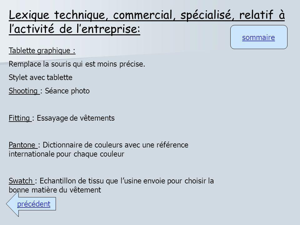 Lexique technique, commercial, spécialisé, relatif à l'activité de l'entreprise: