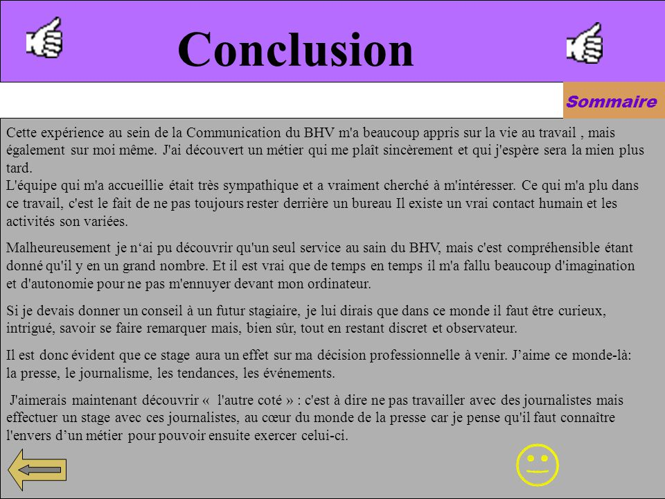 Conclusion Sommaire.