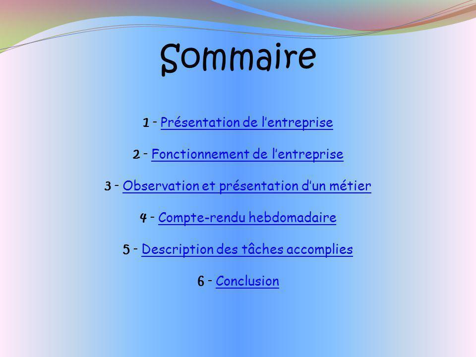 Sommaire 1 - Présentation de l'entreprise
