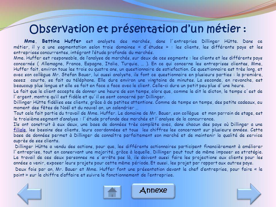 Observation et présentation d'un métier :