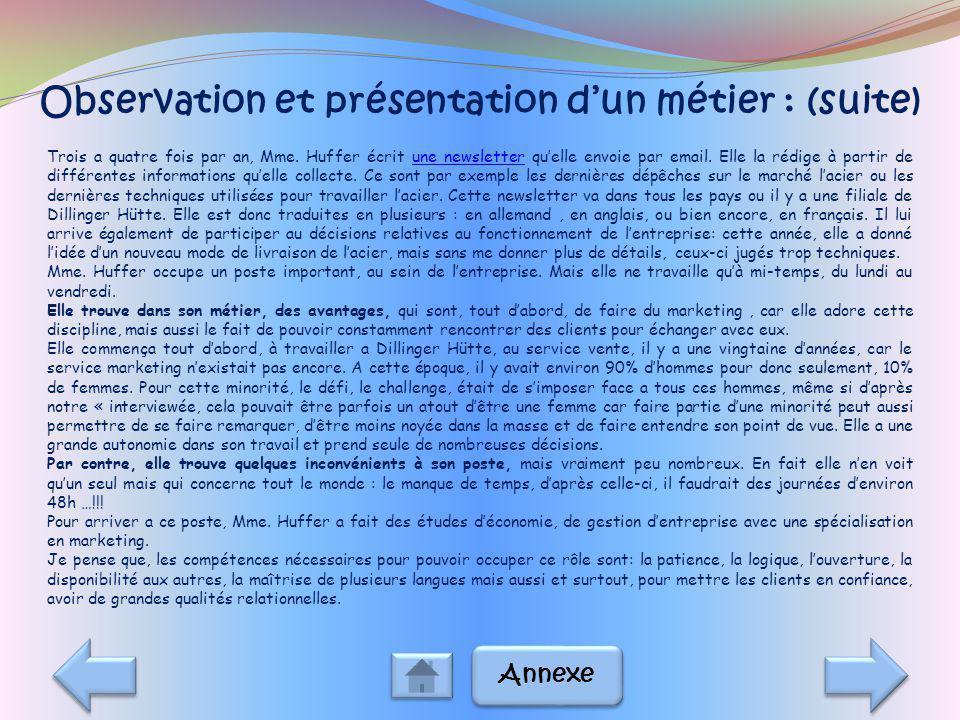 Observation et présentation d'un métier : (suite)
