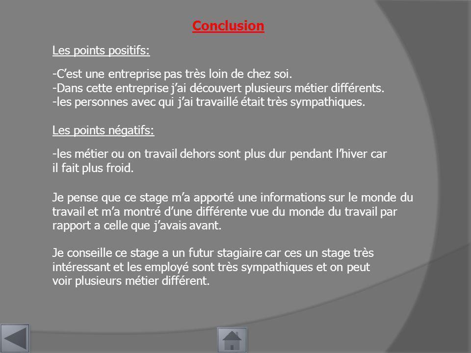 Conclusion Les points positifs: