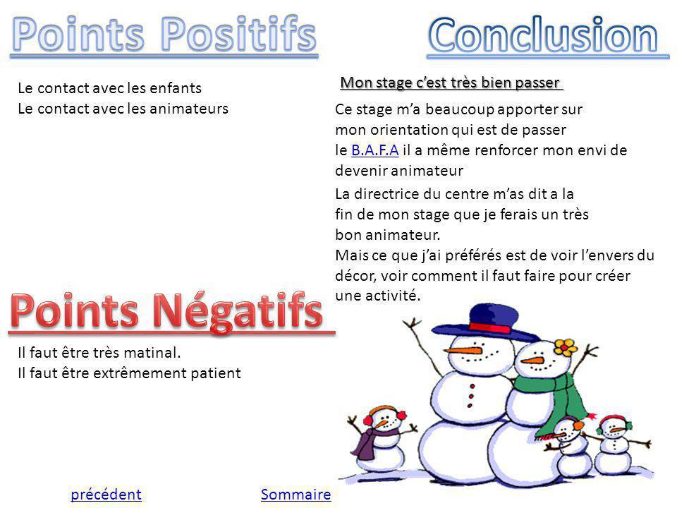 Points Positifs Conclusion Points Négatifs