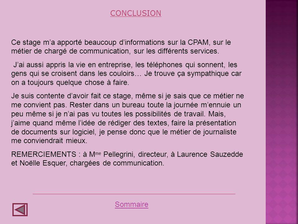 CONCLUSION Ce stage m'a apporté beaucoup d'informations sur la CPAM, sur le métier de chargé de communication, sur les différents services.