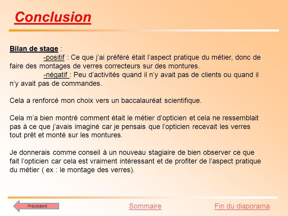 Conclusion Bilan de stage :