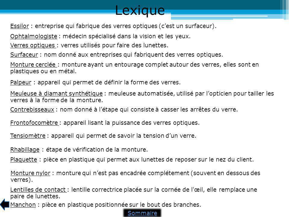 Lexique Essilor : entreprise qui fabrique des verres optiques (c'est un surfaceur). Ophtalmologiste : médecin spécialisé dans la vision et les yeux.