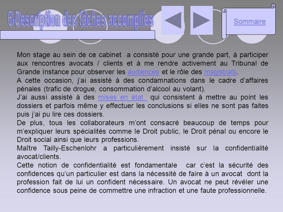 6-Description des tâches accomplies
