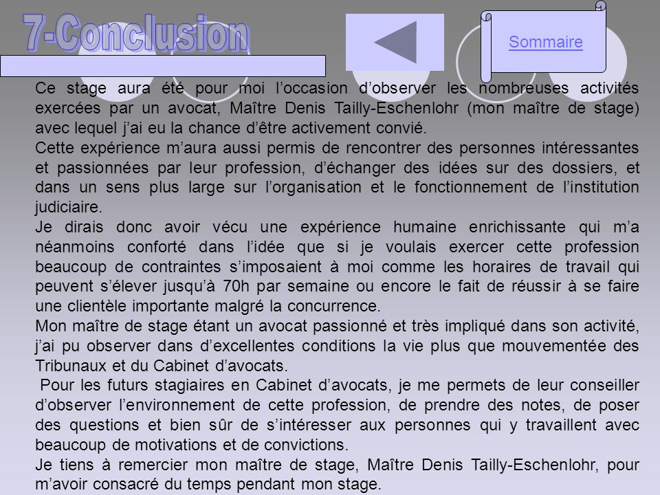 Sommaire 7-Conclusion.