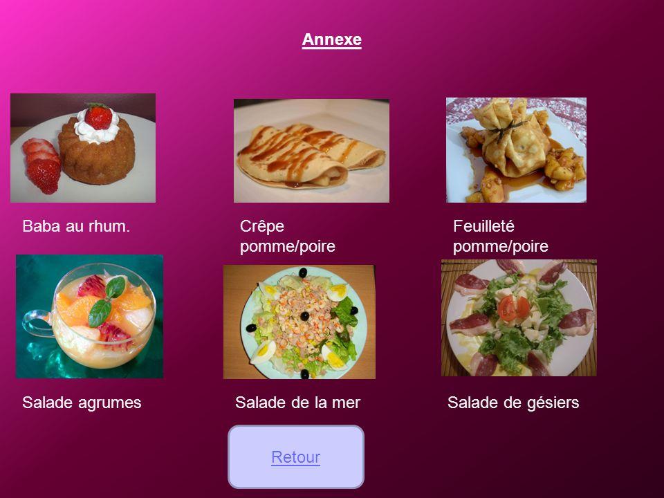 Annexe Baba au rhum. Crêpe pomme/poire. Feuilleté pomme/poire. Salade agrumes. Salade de la mer.