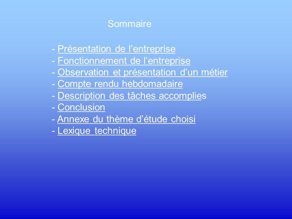 Sommaire - Présentation de l'entreprise. - Fonctionnement de l'entreprise. - Observation et présentation d'un métier.