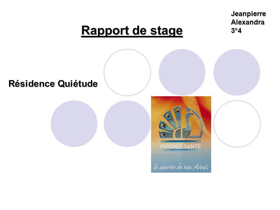 Jeanpierre Alexandra 3°4 Rapport de stage Résidence Quiétude