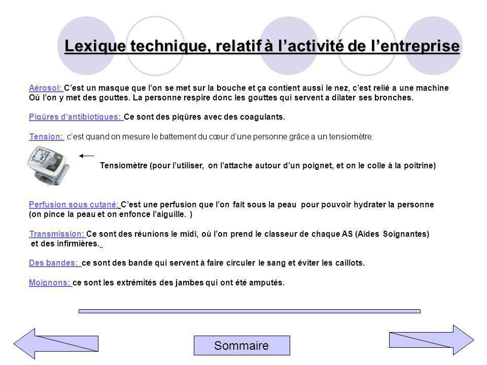 Lexique technique, relatif à l'activité de l'entreprise