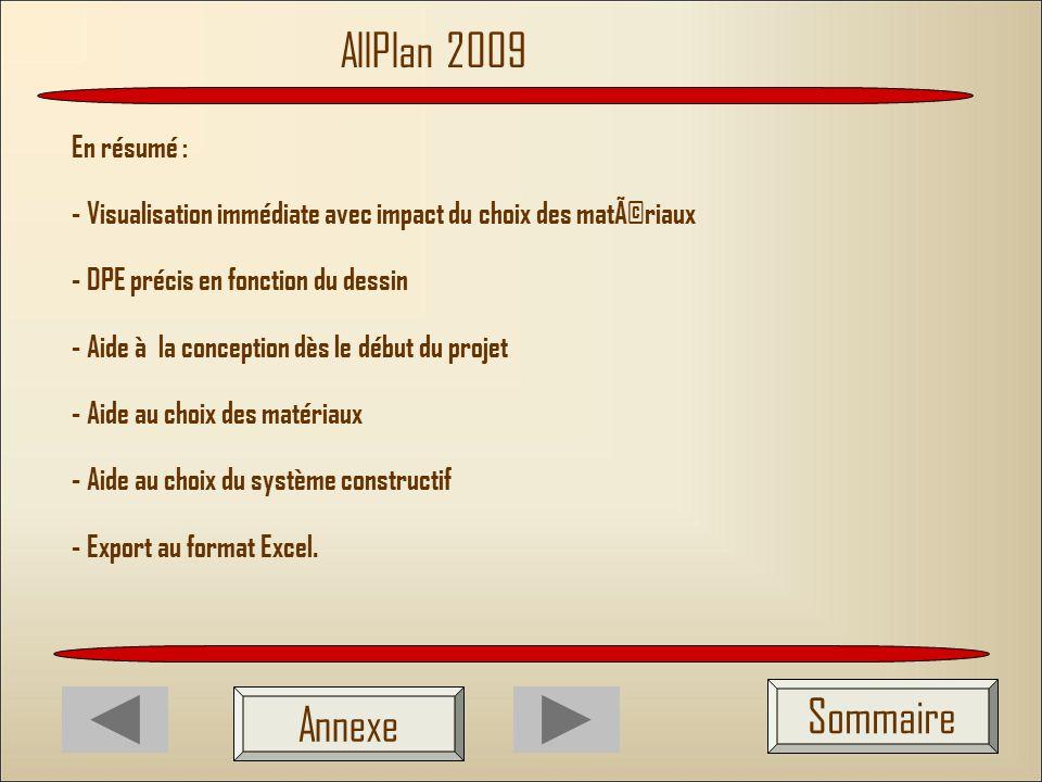 AllPlan 2009 Sommaire Annexe En résumé :