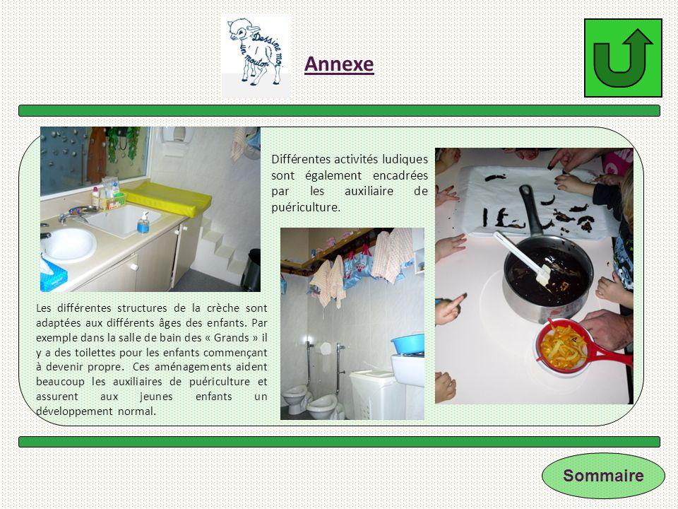 Annexe Différentes activités ludiques sont également encadrées par les auxiliaire de puériculture.