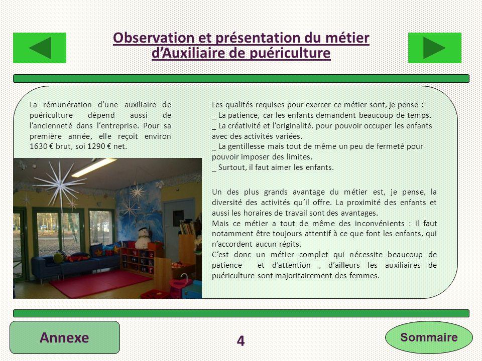 Observation et présentation du métier d'Auxiliaire de puériculture