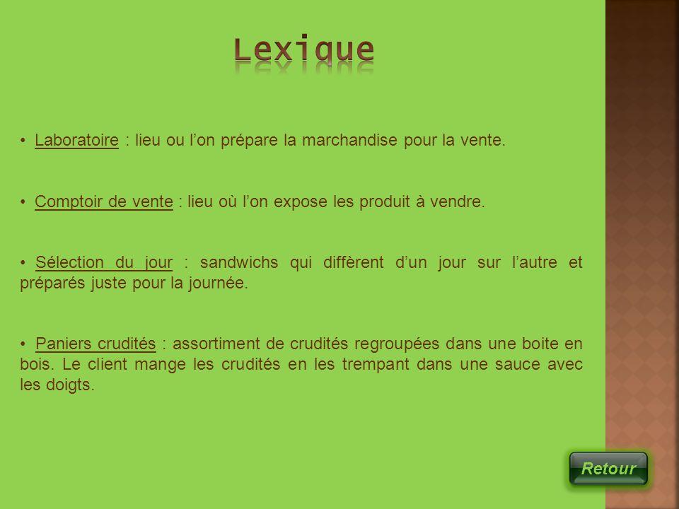 Lexique Laboratoire : lieu ou l'on prépare la marchandise pour la vente. Comptoir de vente : lieu où l'on expose les produit à vendre.