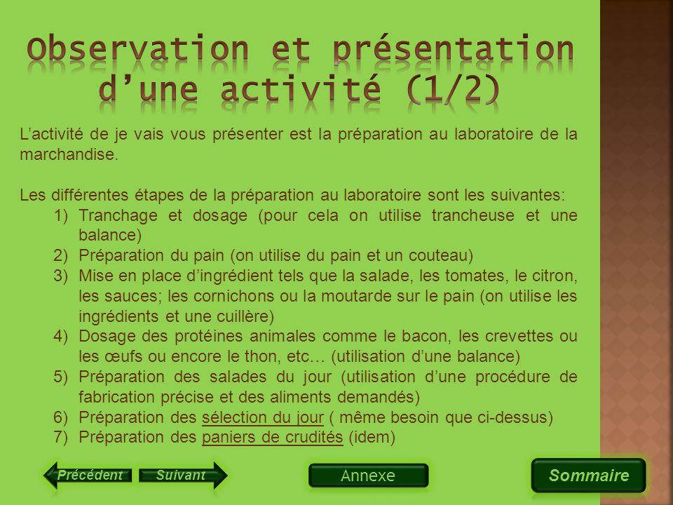 Observation et présentation d'une activité (1/2)