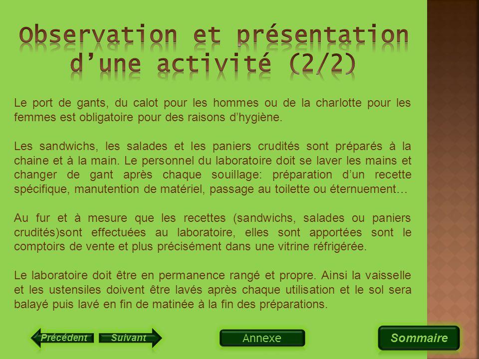 Observation et présentation d'une activité (2/2)