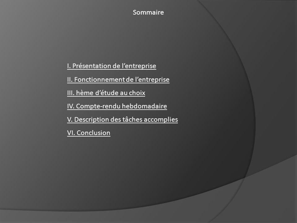 Sommaire I. Présentation de l'entreprise. II. Fonctionnement de l'entreprise. III. hème d'étude au choix.