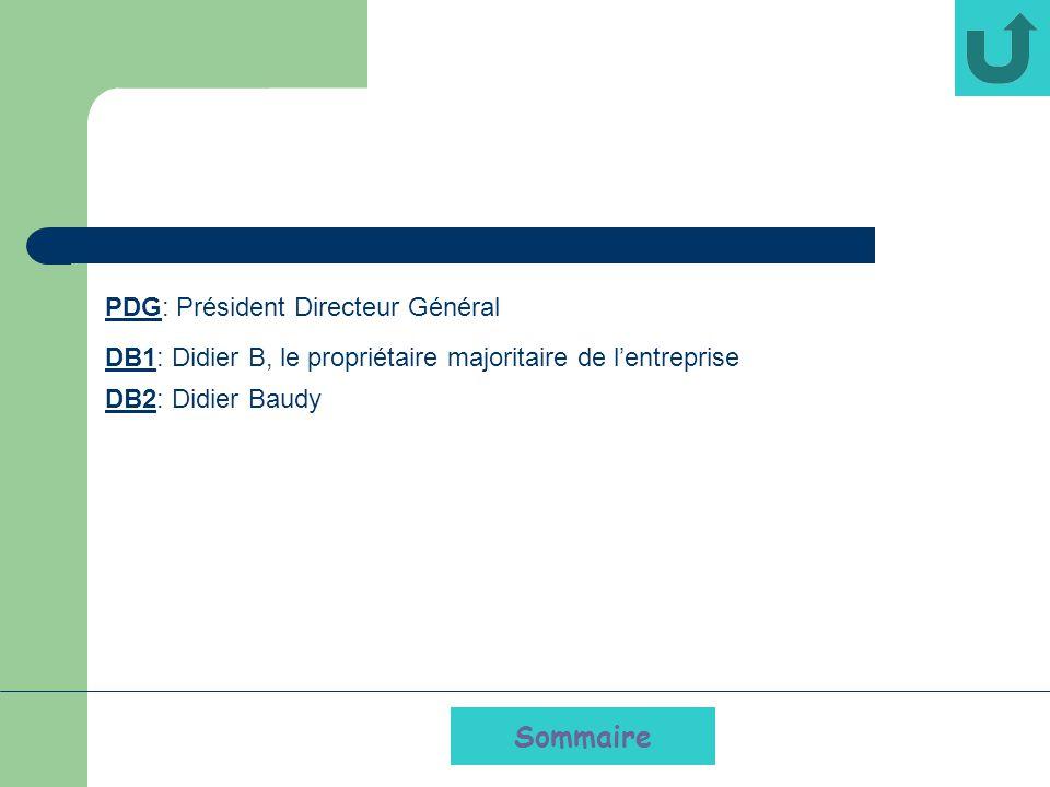 Sommaire PDG: Président Directeur Général