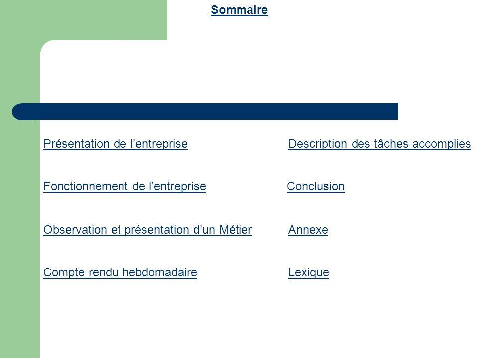 Sommaire Présentation de l'entreprise Description des tâches accomplies.