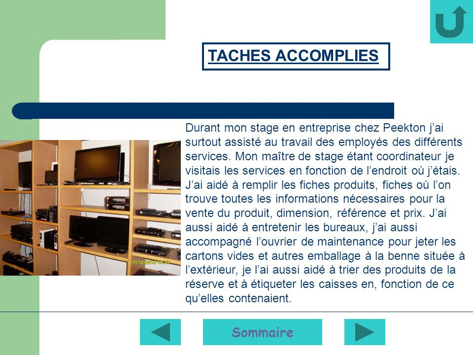 TACHES ACCOMPLIES Sommaire