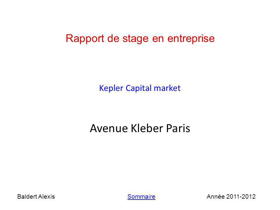 Avenue Kleber Paris Rapport de stage en entreprise