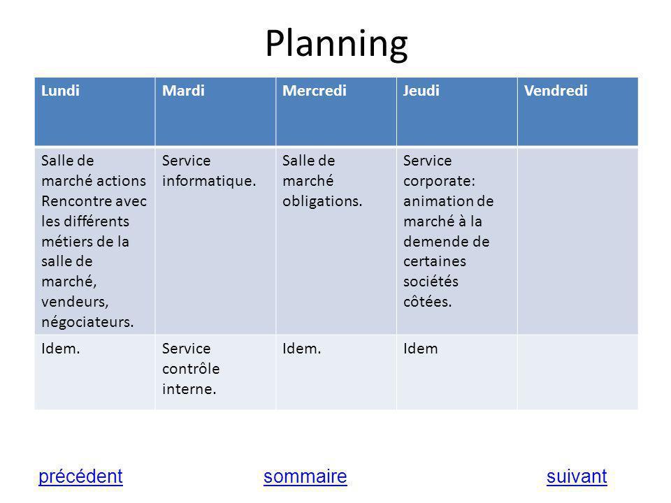 Planning précédent sommaire suivant Lundi Mardi Mercredi Jeudi