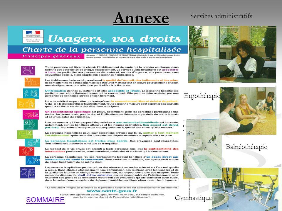 Annexe Services administratifs Ergothérapie Balnéothérapie Gymnastique