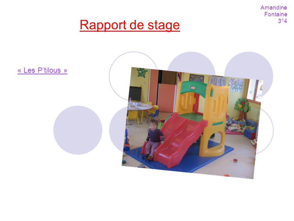 Amandine Fontaine 3°4 Rapport de stage « Les P'tilous »