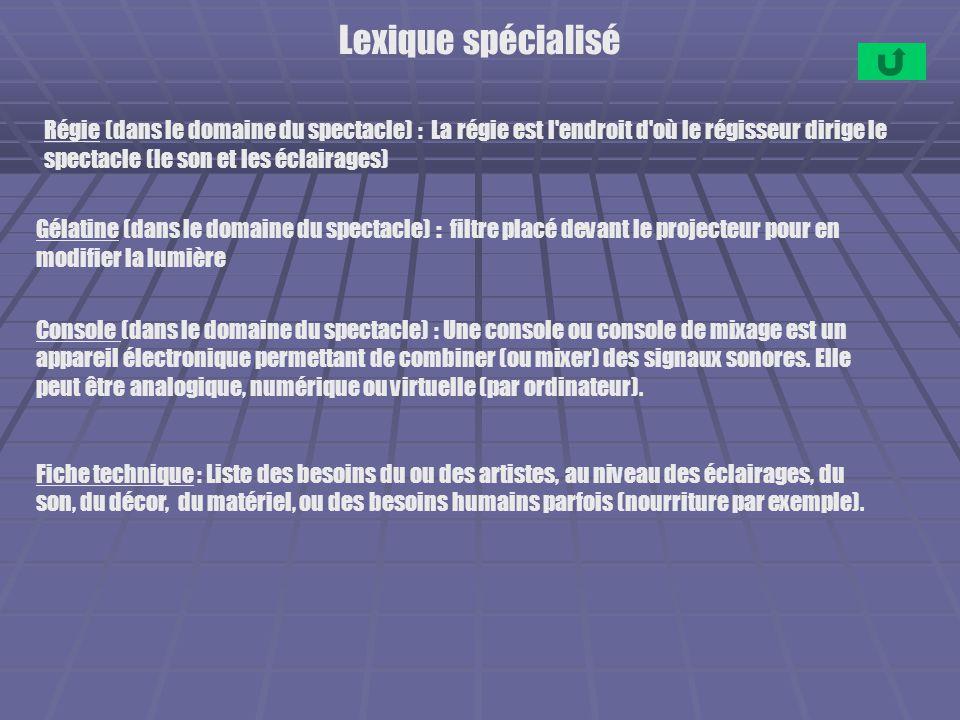 Lexique spécialisé Régie (dans le domaine du spectacle) : La régie est l endroit d où le régisseur dirige le spectacle (le son et les éclairages)