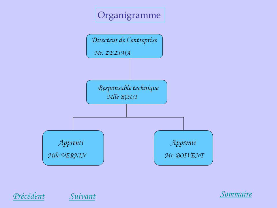 Organigramme Sommaire Précédent Suivant Directeur de l'entreprise