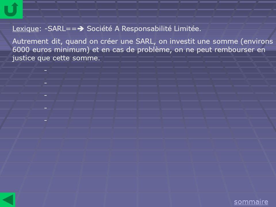 Lexique: -SARL== Société A Responsabilité Limitée.