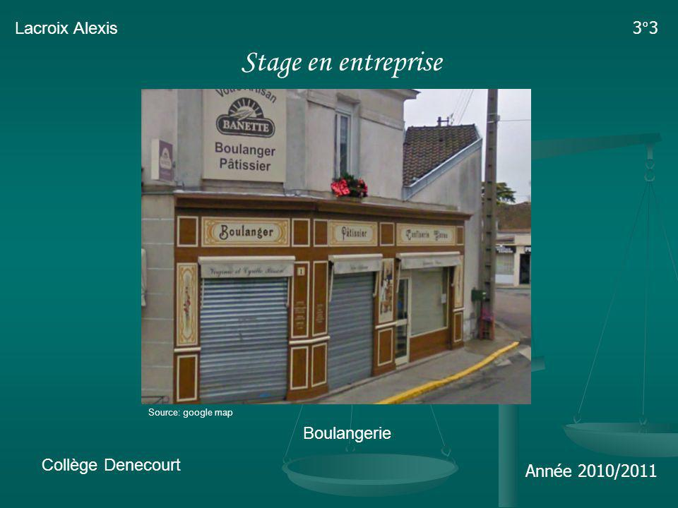 Stage en entreprise Lacroix Alexis 3°3 Boulangerie Collège Denecourt