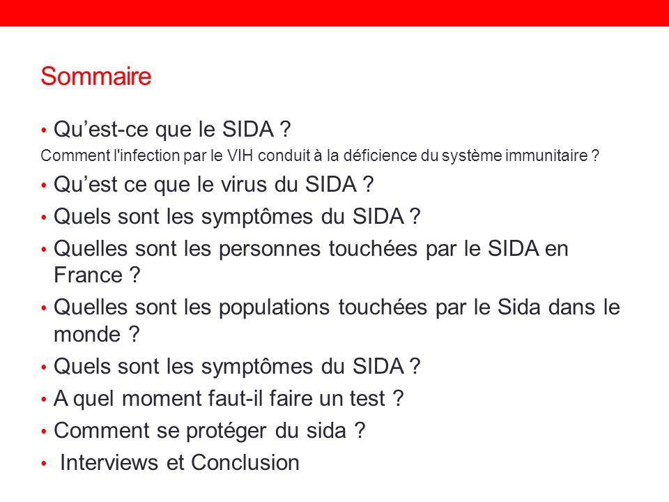 Sommaire Qu'est-ce que le SIDA Qu'est ce que le virus du SIDA