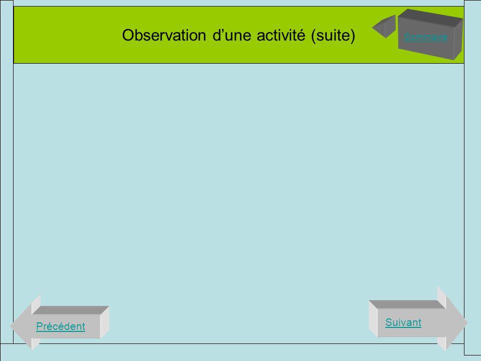 Observation d'une activité (suite)