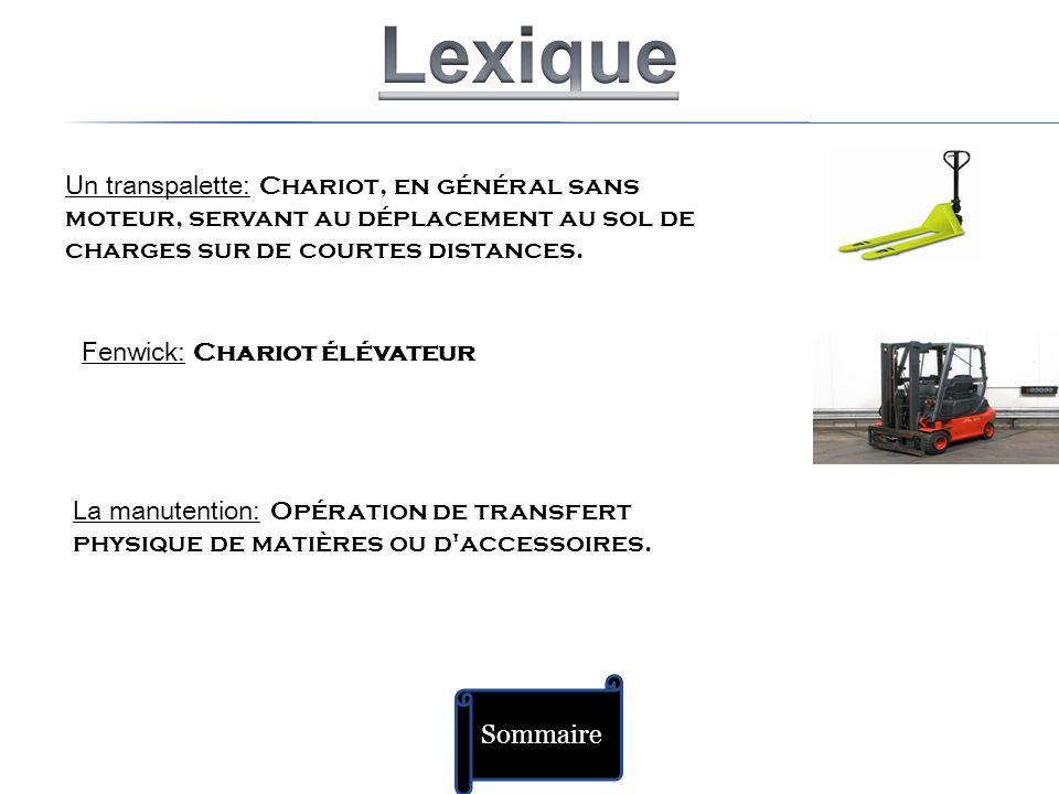 Lexique Un transpalette: Chariot, en général sans moteur, servant au déplacement au sol de charges sur de courtes distances.