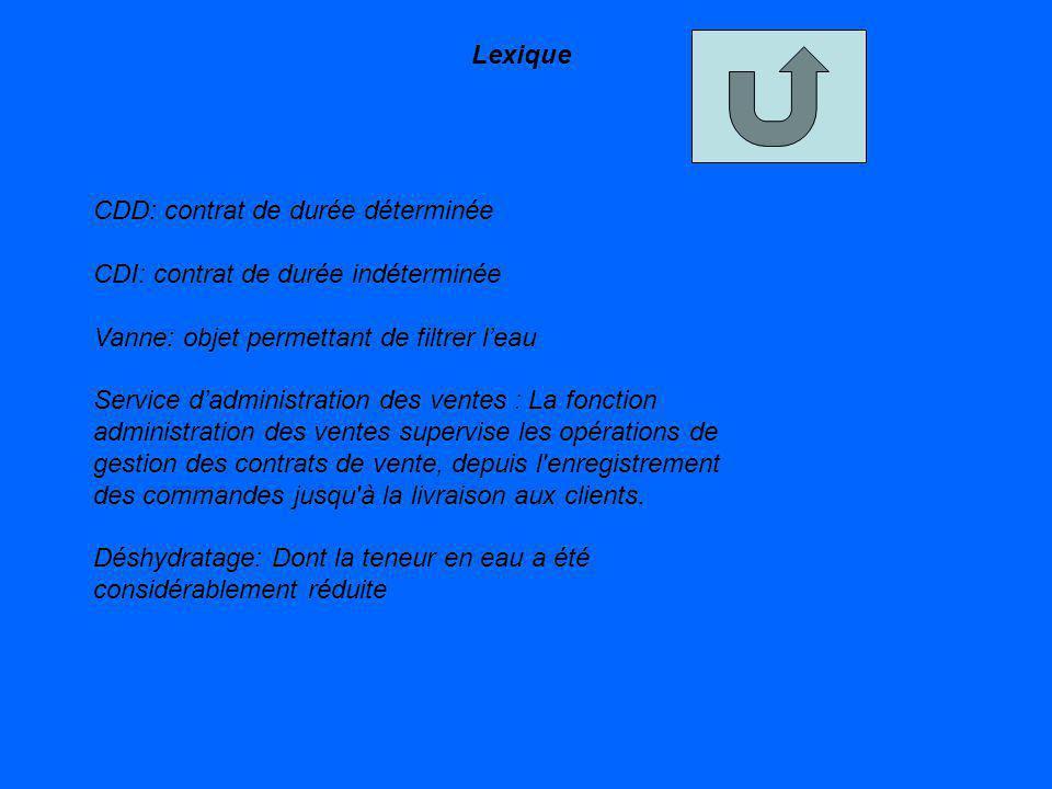 Lexique CDD: contrat de durée déterminée. CDI: contrat de durée indéterminée. Vanne: objet permettant de filtrer l'eau.
