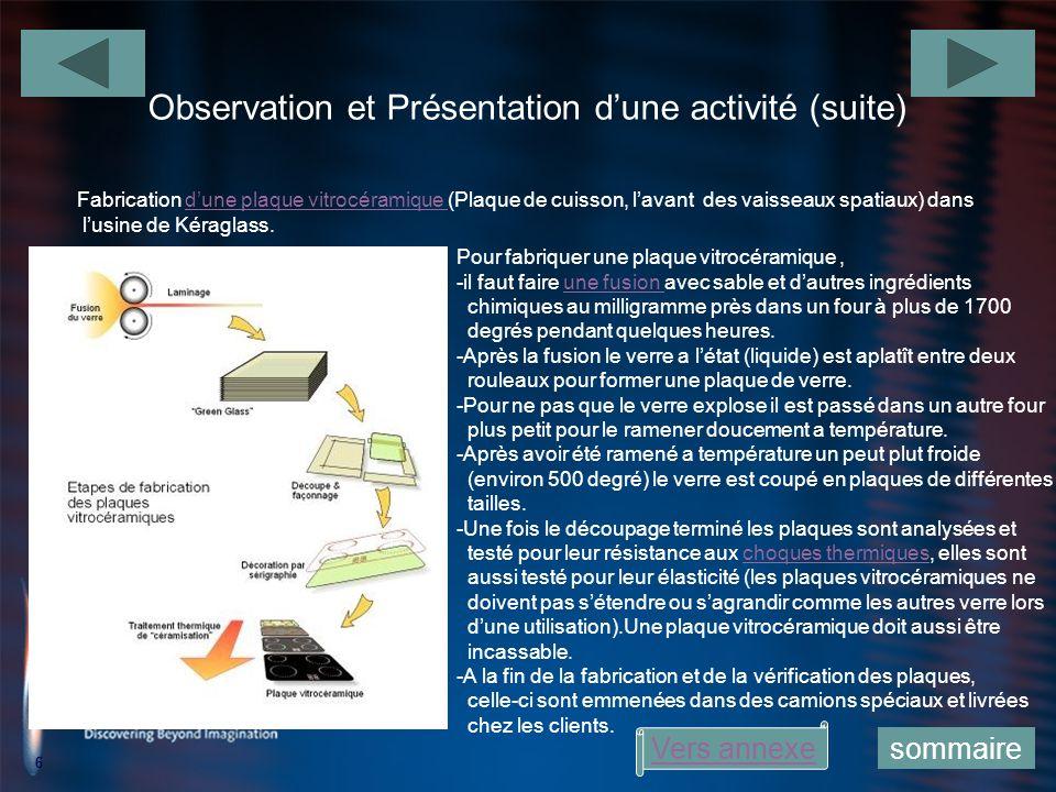 Observation et Présentation d'une activité (suite)