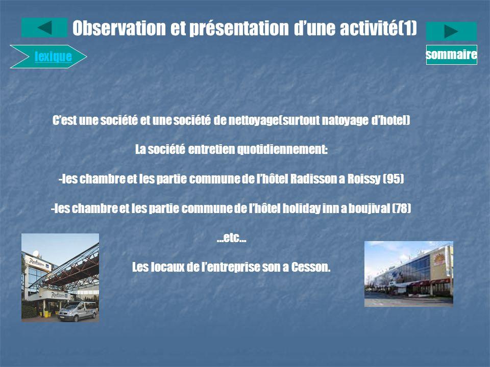 Observation et présentation d'une activité(1)