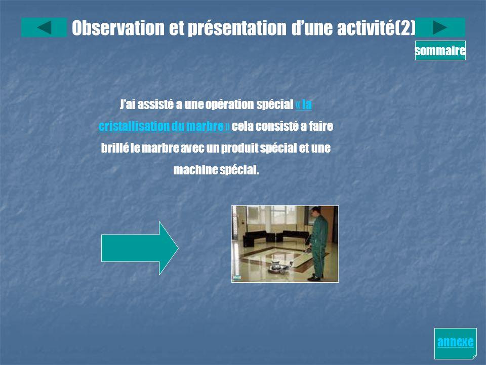 Observation et présentation d'une activité(2)