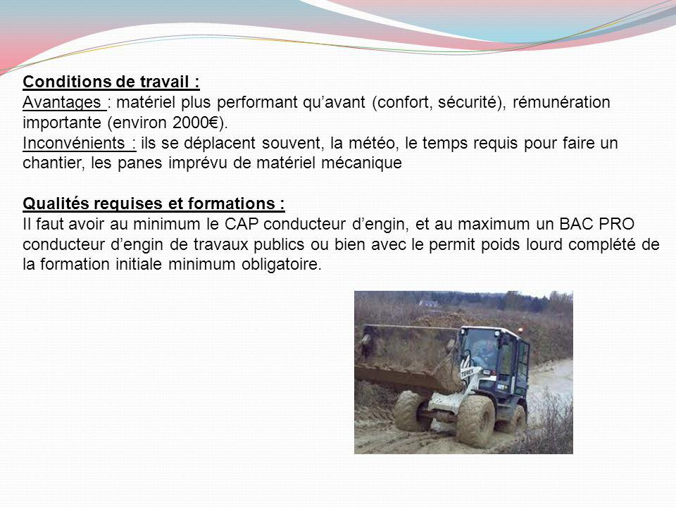 Conditions de travail :