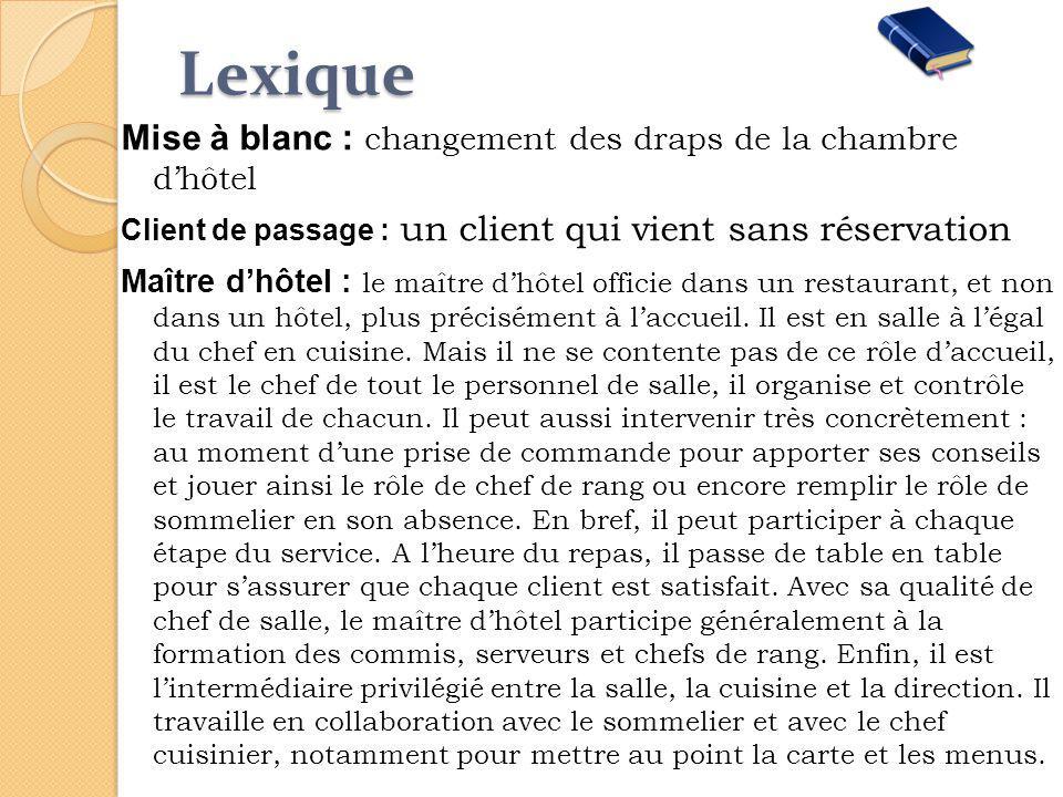 Lexique Mise à blanc : changement des draps de la chambre d'hôtel