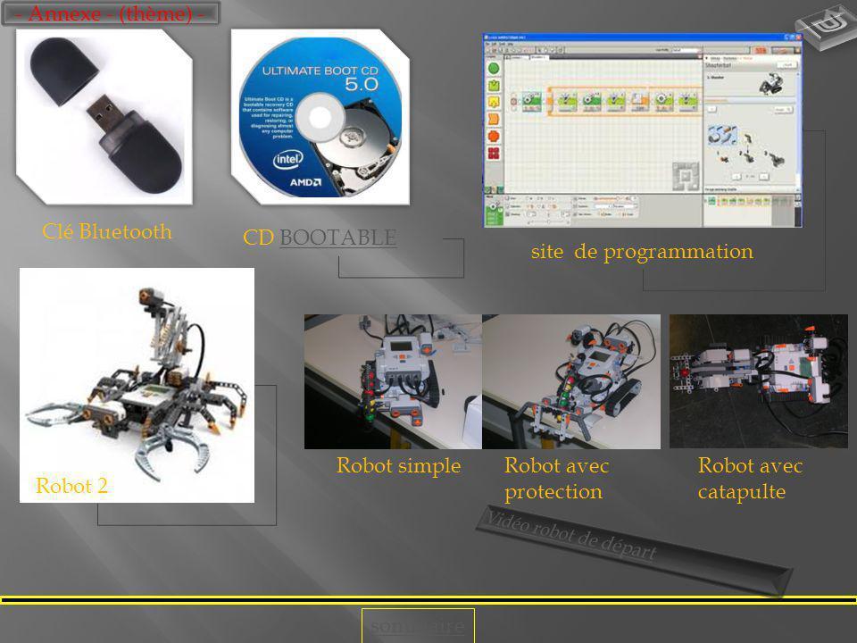- Annexe - (thème) - Clé Bluetooth. CD BOOTABLE. site de programmation. Robot simple. Robot avec protection.
